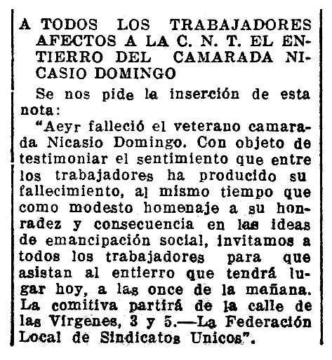 """Necrològica de Nicasio Domingo Gascón apareguda en el periòdic saragossà """"La Voz de Aragón"""" del 10 de febrer de 1933"""