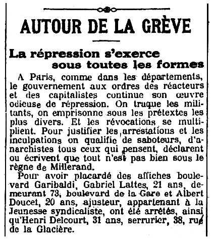 """Necrològica d'Albert Doucet apareguda en el periòdic parisenc """"L'Humanité"""" del 16 de maig de 1920"""