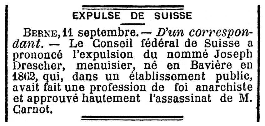 """Noticia de la expulsión de Joseph Drescher aparecida en el periódico parisino """"La Mañana"""" del 12 de septiembre de 1894"""