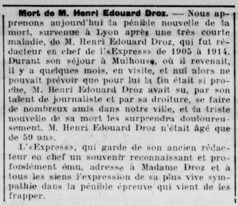 """Necrològica d'Henri-Édouard Droz apareguda en el diari de Mülhausen """"L'Express de Mulhouse"""" del 10 de desembre de 1927"""