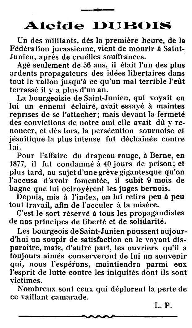"Necrològica d'Alcide Dubois apareguda en el periòdic parisenc ""Les Temps Nouveaux"" del 14 de setembre de 1912 [On diu Saint-Junien, ha de dir Saint-Imier]"