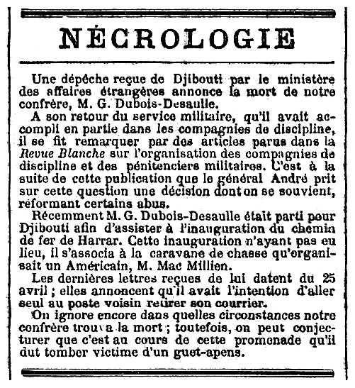 "Necrològica de Gaston Dubois-Desaulle apareguda en el diari parisenc ""Le Temps"" del 30 de maig de 1903"