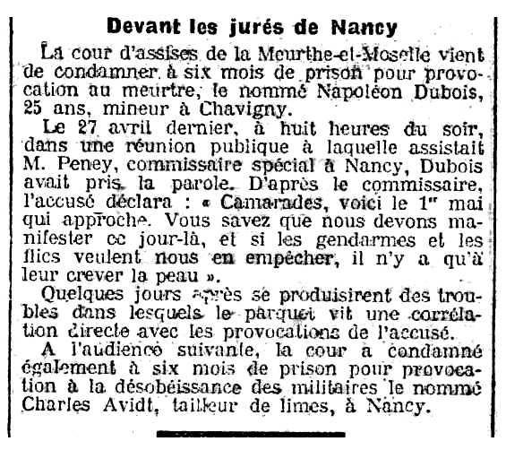 """Notícia del judici a Napoléon Dubois apareguda en el periòdic parisenc """"La Lanterne"""" de l'11 d'agost de 1907"""