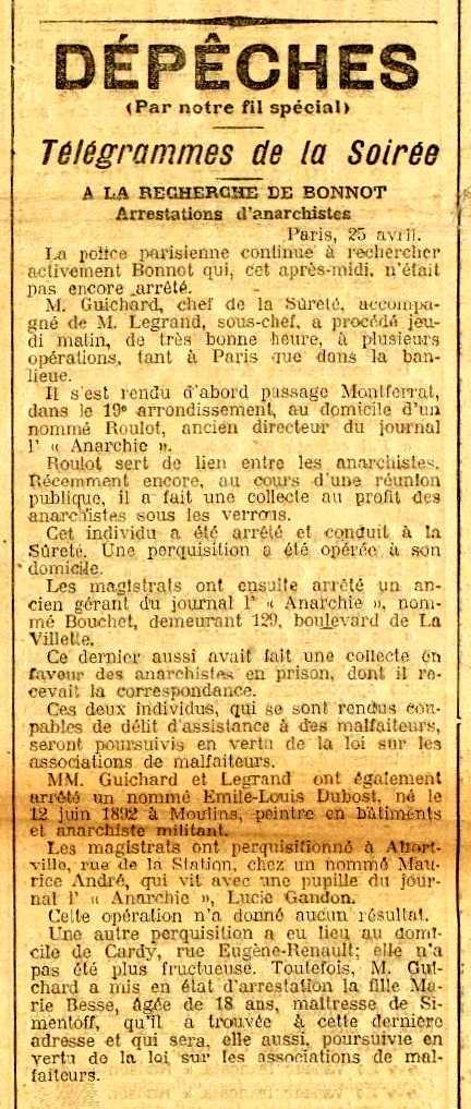 """Notícia de la detenció de Louis Dubost apareguda en el diari d'Angulema """"La Charante"""" del 27 d'abril de 1912"""