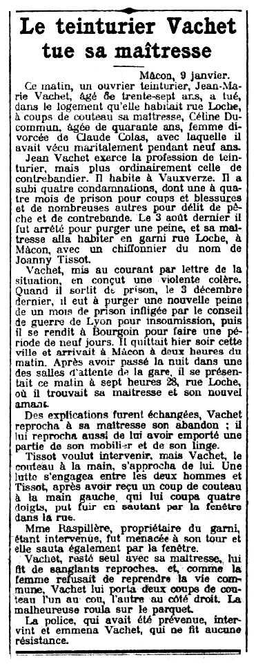"""Notícia de l'assassinat de Céline Ducommun apareguda en el diari parisenc """"Le Petit Parisien"""" del 10 de gener de 1910"""