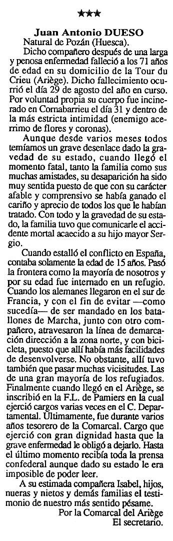 """Necrològica de Juan Antonio Dueso apareguda en el periòdic tolosà """"Cenit"""" del 13 d'octubre de 1992"""