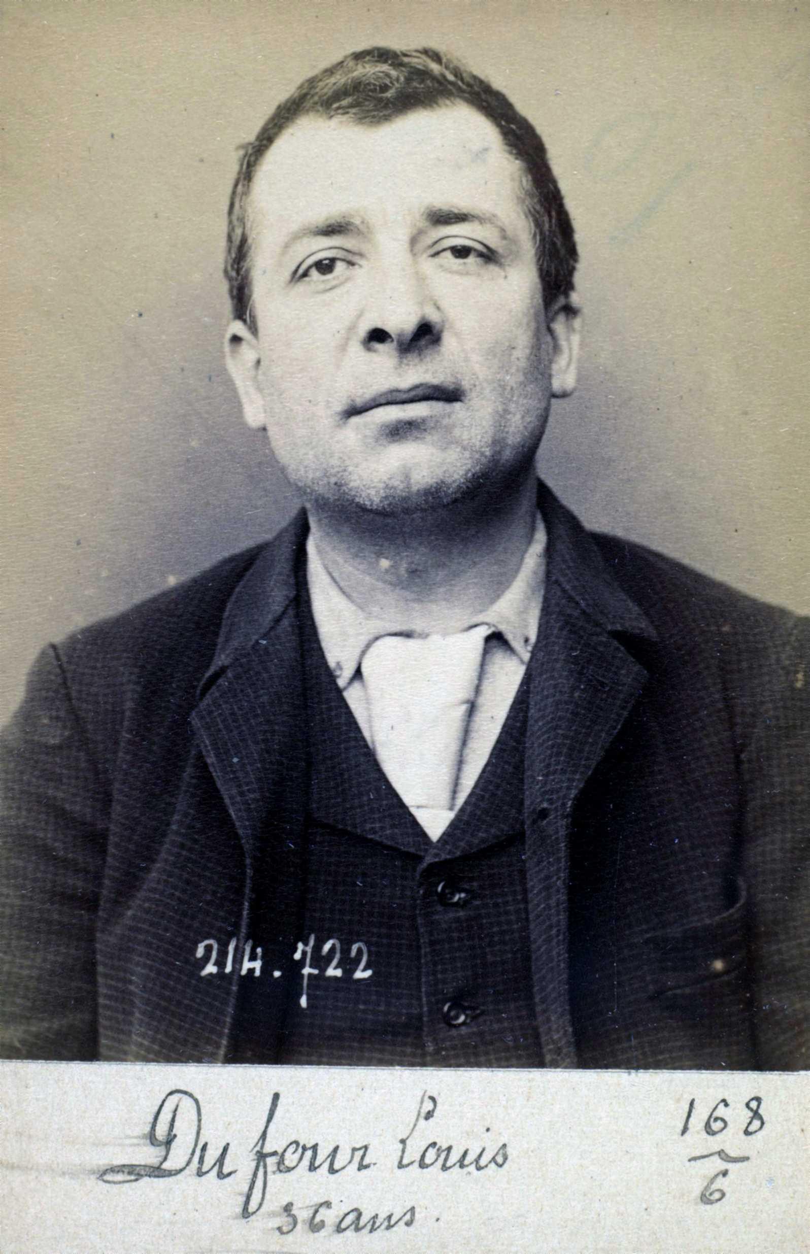 Foto policíaca de Louis Duffour (ca. 1894)