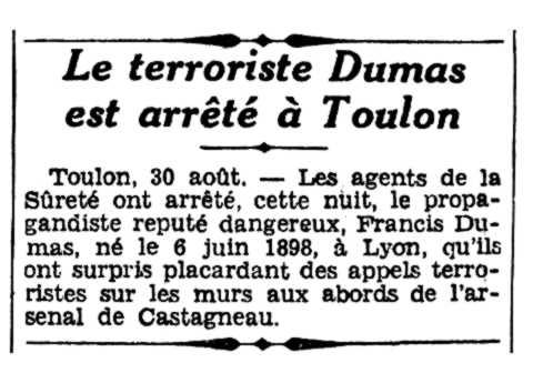"""Notícia de la detenció de Francis Dumas apareguda en el diari """"L'Écho d'Alger"""" del 31 d'agost de 1935"""