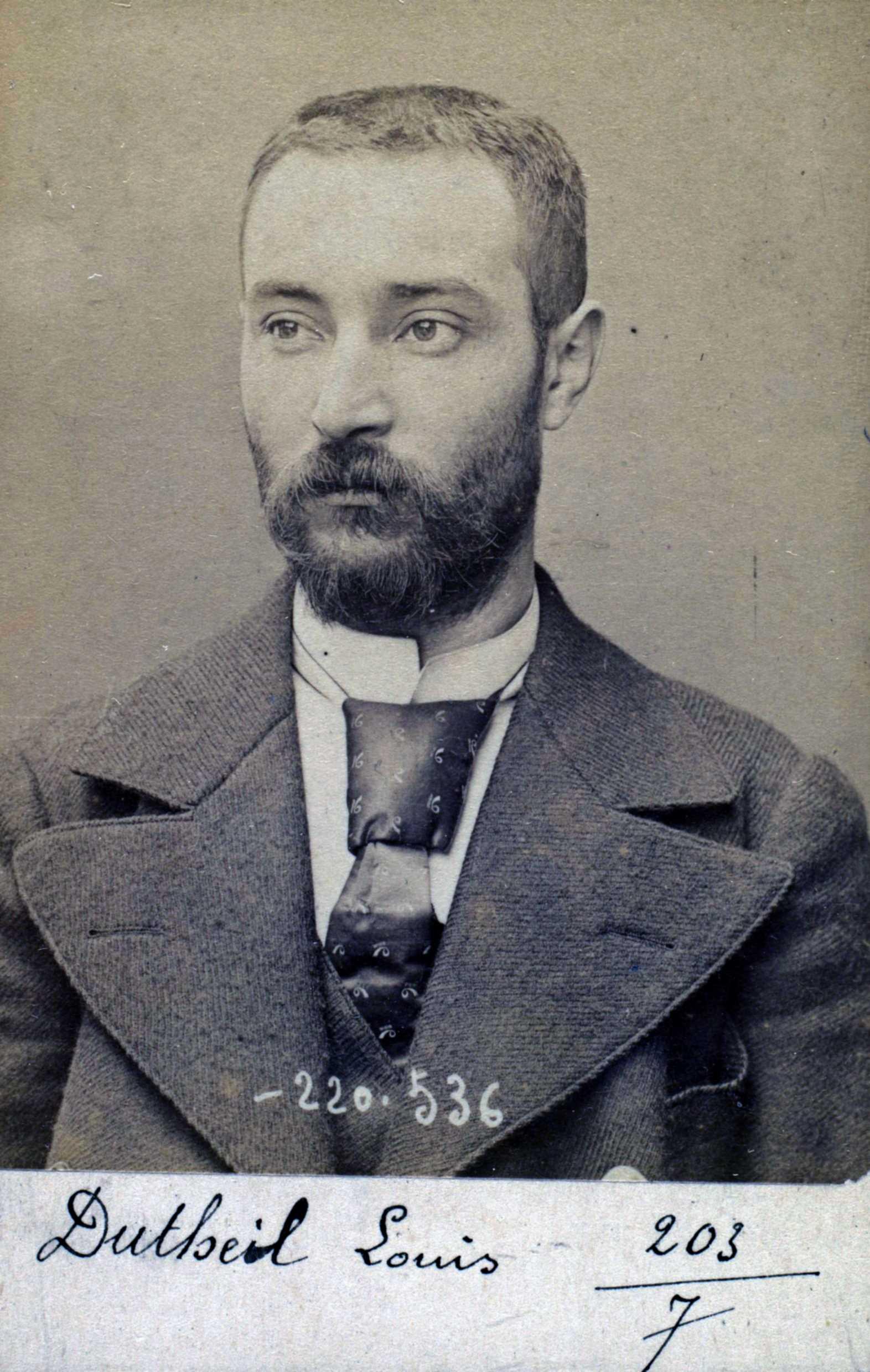 Foto policíaca de Louis Dutheil (3 de juliol de 1894)