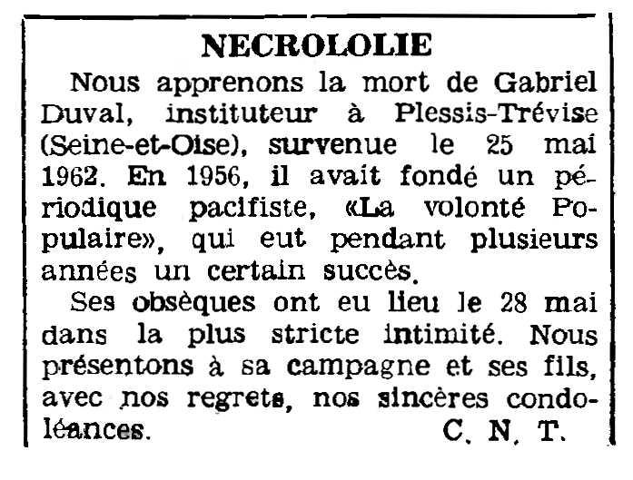 """Necrológica de Gabriel Duval aparecida en el periódico parisino """"Le Combat Syndicaliste"""" del 14 de julio de 1962"""