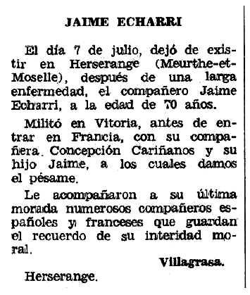 """Necrològica de Jaime Echarri Lafuente apareguda en el periòdic tolosà """"Espoir"""" del 8 de novembre de 1970"""