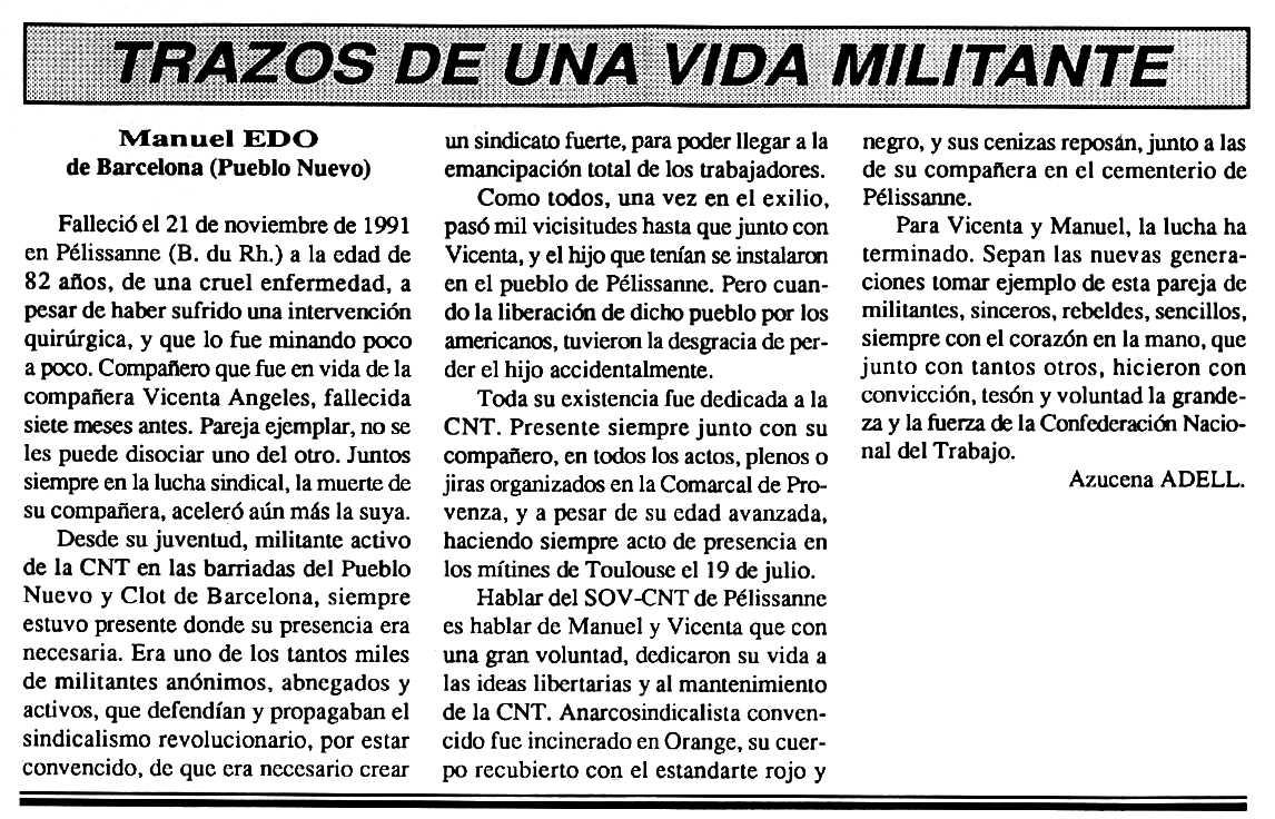 """Necrològica de Manuel Edo publicada pel periòdic parisenca """"Cenit"""" del 21 de gener de 1992"""