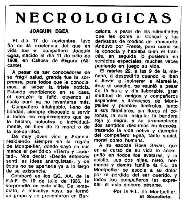 "Necrològica de Joaquín Egea Martínez apareguda en el periòdic tolosà ""Espoir"" de l'1 de gener de 1978"