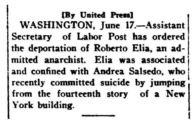 """Notícia sobre la deportació de Roberto Elia publicada pel diari """"Carson City Daily Appeal"""" del 17 de juny de 1920"""