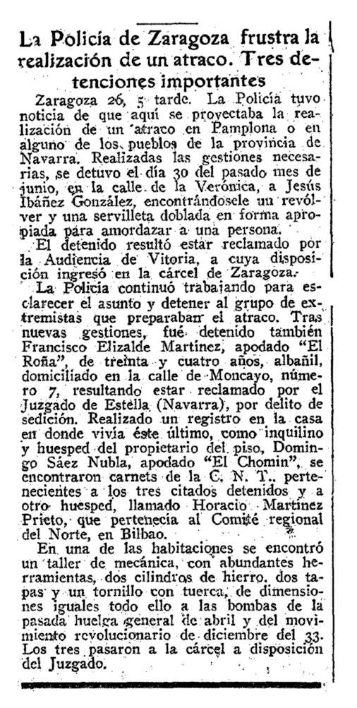 "Notícia de la detenció de Francisco Elizalde Martínez apareguda en el diari madrileny ""ABC"" del 27 de juliol de 1934"