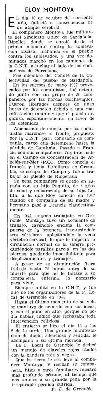 """Necrològica d'Eloy Montoya apareguda en el periòdic parisenc """"Solidaridad Obrera"""" del 12 d'octubre de 1959"""