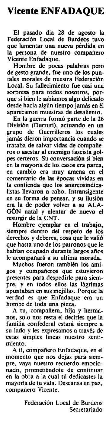 "Necrològica de Vicente Enfedaque Tormes apareguda en el periòdic tolosà ""Espoir"" del 18 de gener de 1981"
