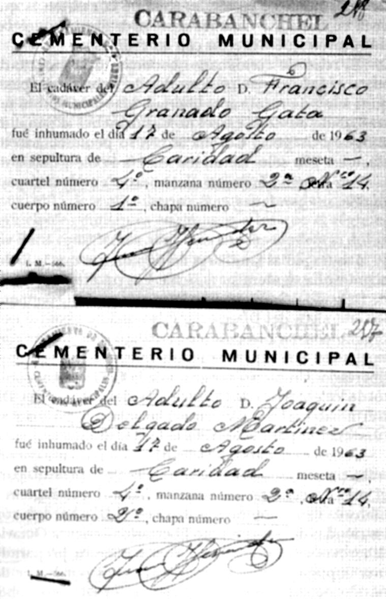 Fulls d'enterrament de Granado i de Delgado en una fossa de caritat del Cementeri Municipal de Carabanchel (Madrid)