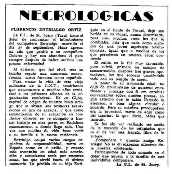 """Necrològica de Florencio Entrialgo Ortiz apareguda en el periòdic """"CNT"""" del 20 d'octubre de 1957"""