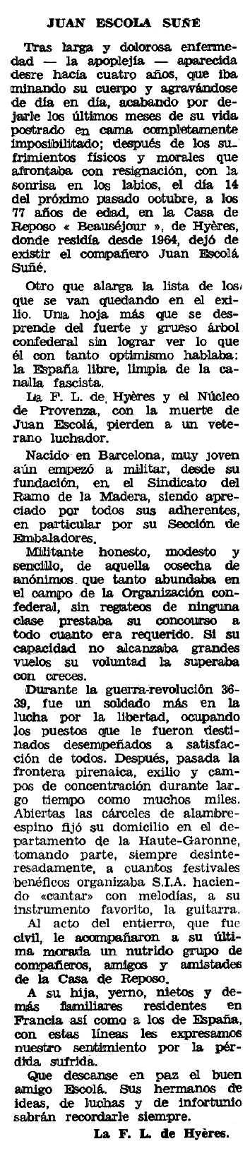 """Necrològica de Joan Escolà Suñé apareguda en el periòdic tolosà """"Espoir"""" del 29 de novembre de 1970"""