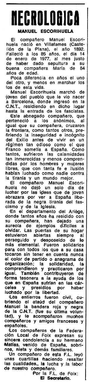 "Necrològica de Manuel Escorihuela Valls apareguda en el periòdic tolosà ""Espoir"" del 10 d'abril de 1977"