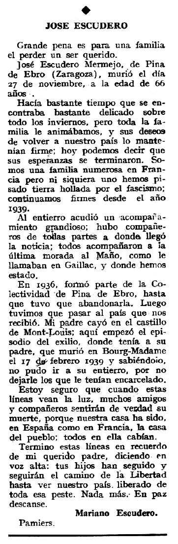 """Necrològica de José Escudero Mermejo publicada en el periòdic tolosà """"Espoir"""" del 27 de gener de 1963)"""