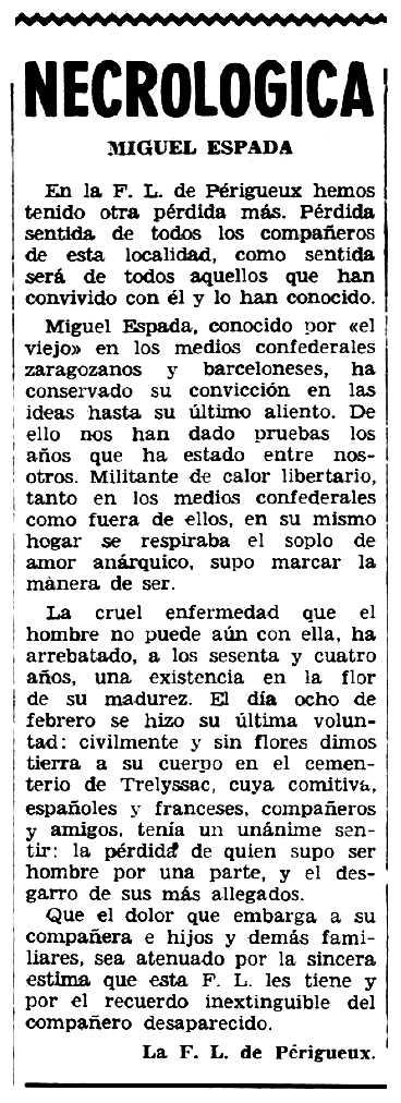 """Necrològica de Miguel Espada Bernardo apareguda en el periòdic tolosà """"Espoir"""" del 4 de març de 1962"""