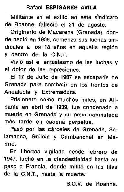 "Necrològica de Rafael Espigares Ávila apareguda en el periòdic tolosà ""Cenit"" del 26 de novembre de 1985"