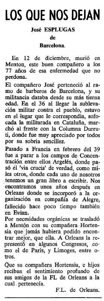 """Necrològica de Josep Espluga Culubret apareguda en el periòdic tolosà """"Cenit"""" del 10 de gener de 1989"""