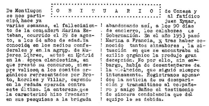 """Necrològica de Marina Esteban Villalba apareguda en la revista parisenca """"Confrontación"""" de gener-febrer de 1980"""