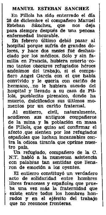 """Necrològica de Manuel Esteban Sánchez apareguda en el periòdic tolosà """"CNT"""" del 29 de geenr de 1956"""
