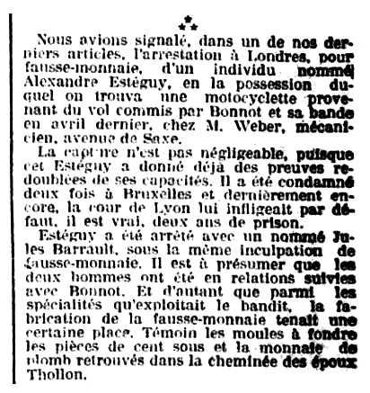 """Notícia de la detenció d'Alexandre Esteguy publicada en el diari de Saint-Étienne """"Mémorial de la Loire et de la Haute-Loire"""" del 6 de desembre de 1911"""