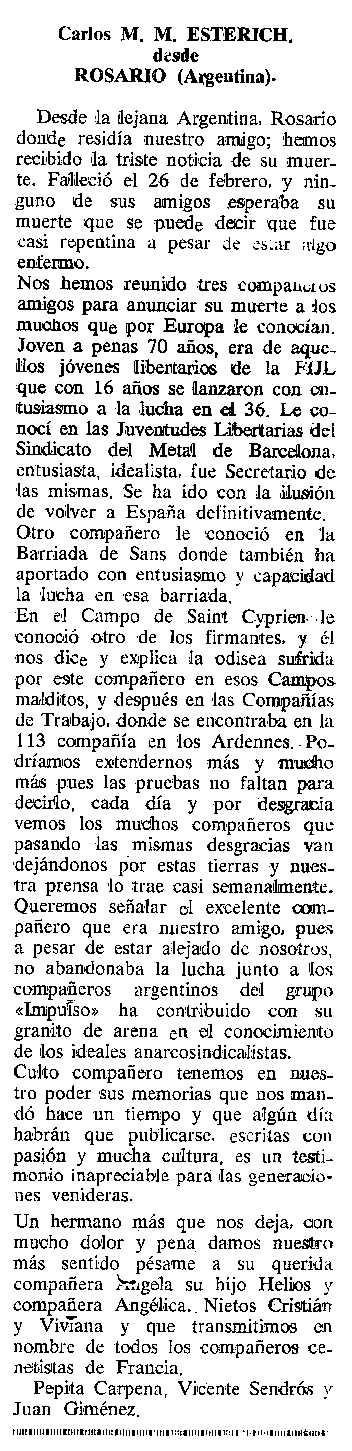 """Necrològica de Carles M. Esterich apareguda en el periòdic tolosà """"Cenit"""" del 3 de juliol de 1990"""