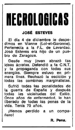 """Necrològica de Josep Esteve Guardiola apareguda en el periòdic tolosà """"Espoir"""" del 22 de gener de 1978"""