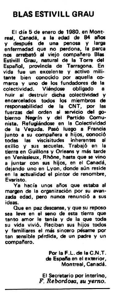 "Necrològica de Blai Estivill Grau apareguda en el periòdic ""Espoir"" de l'1 de juny de 1980"