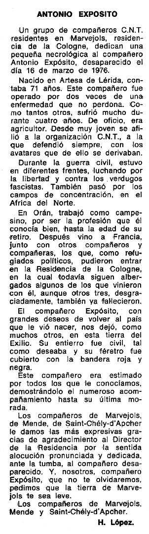 "Necrològica d'Antoni Expósito apareguda en el periòdic tolosà ""Espoir"" del 26 de setembre de 1976"