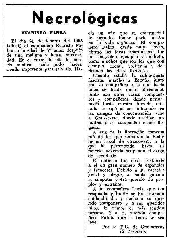 """Necrològica d'Evaristo Fabra Veneigas apareguda en el periòdic tolosà """"Espoir"""" del 16 de maig de 1965"""