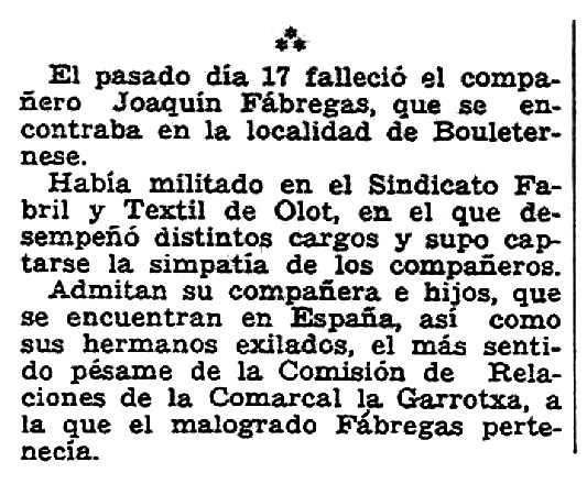 """Necrològica de Joaquim Fàbregas apareguda en el periòdic parisenc """"Solidaridad Obrera"""" del 3 de febrer de 1951"""
