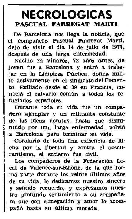 "Necrològica de Pasqual Fabregat Martí apareguda en el periòdic parisenc ""Le Combat Syndicaliste"" del 7 de setembre de 1978"