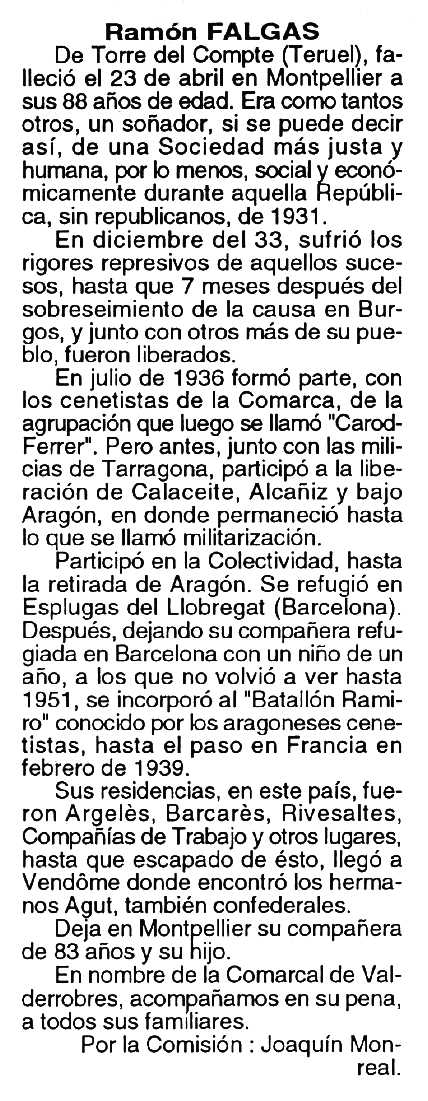 "Necrològica de Ramon Falgàs Miralles apareguda en el periòdic tolosà ""Cenit"" del 21 de juny de 1994"