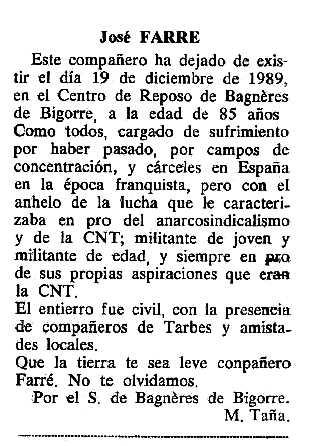 """Necrològica de Josep Farré Sullà apareguda en el periòdic tolosà """"Cenit"""" del 9 de gener de 1990"""