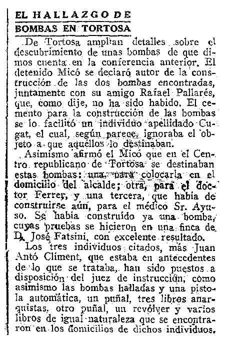 """Notícia sobre l'afer de les bombes publicada en el diari madrileny """"ABC"""" del 9 de gener de 1921"""