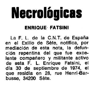 "Necrològica d'Enric Fatsini Cabrera apareguda en el periòdic tolosà ""Espoir"" del 22 de desembre de 1974"