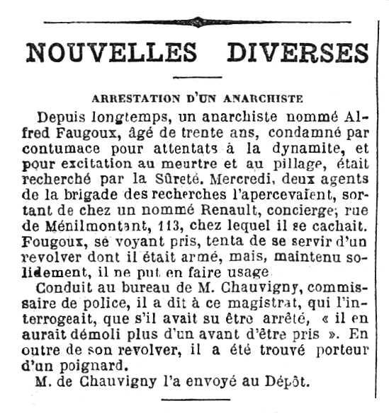 """Notícia de la detenció d'Auguste Faugoux apareguda en el diari parisenc """"Journal des débats politiques et littéraires"""" del 19 de febrer de 1892"""