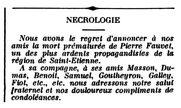 """Necrològica de Pierre Fauvet publicada pel periòdic parisenc """"Le Libertaire"""" del 31 de març de 1901"""
