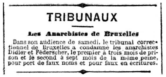 "Notícia del judici de Grégoire Federscher apareguda en el diari parisenc ""La Lanterne"" del 5 de maig de 1883"