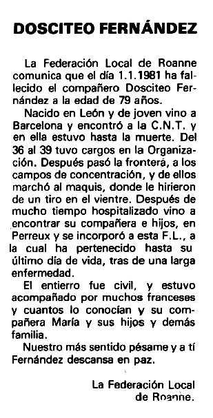 """Necrològica de Dositeo Fernández Barrero apareguda en el periòdic """"Espoir"""" del 8 de febrer de 1981"""