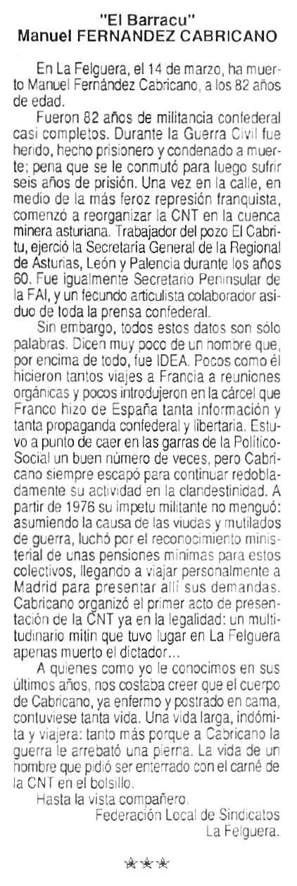 """Necrològica de José Manuel Fernández Cabricano apareguda en el periòdic parisenc """"Cenit"""" del 12 de maig de 1992"""