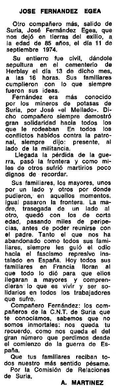 """Necrològica de José Fernández Egea apareguda en el periòdic tolosà """"Espoir"""" del 22 de juny de 1975"""
