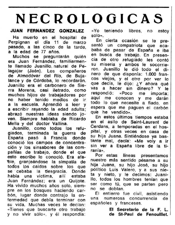 "Necrològica Juan Fernández González apareguda en el periòdic tolosà ""Espoir"" del 30 de maig de 1971"